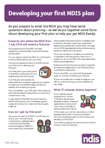 Developing your NDIS plan fact sheet